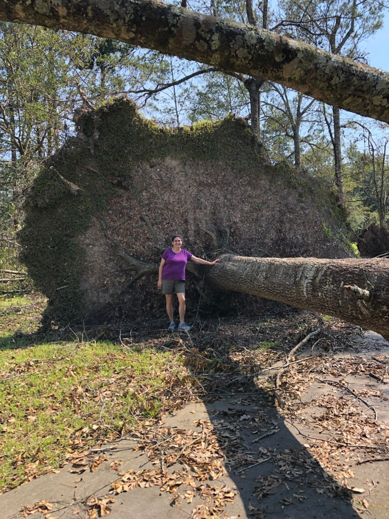 Kat standing in front of neighbor's tree after Hurricane Ida.
